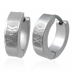 Šperky eshop - Náušnice z ocele - matná mriežka M14.27