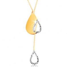 Zlatý 14K náhrdelník - jemná retiazka, slza s výrezom a visiaci obrys kvapky