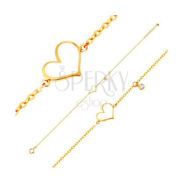 f837a9914 Zlatý náramok 585 - biele asymetrické srdce a číry zirkónik, tenká retiazka  ...