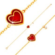 Šperky eshop - Náramok v žltom 14K zlate, prívesky - srdce s červenou glazúrou, zirkón GG136.26