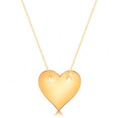 Náhrdelník zo žltého 14K zlata - súmerné ploché srdce, jemná retiazka