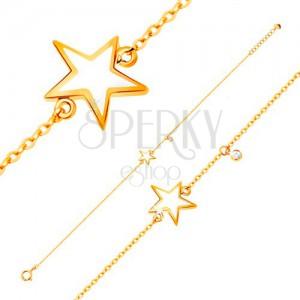 Zlatý náramok 585 - biela glazúrovaná hviezdička, zirkón čírej farby