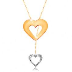 Náhrdelník v 14K zlate - jemná retiazka, obrys srdca a visiaceho srdiečka