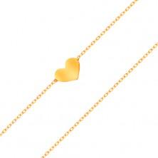 Náramok zo žltého 14K zlata - malé súmerné a ploché srdce, jemná retiazka