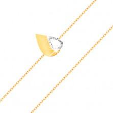 Zlatý 14K náramok - tenká retiazka, dvojfarebná plochá slza s výrezom
