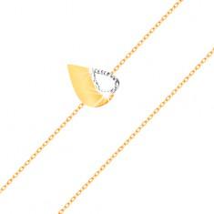 4d4ce8542 Šperky eshop - Zlatý 14K náramok - tenká retiazka, dvojfarebná plochá slza s  výrezom GG159