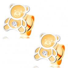 Zlaté náušnice 585 - dvojfarebný medvedík s matným povrchom, lesklá kontúra