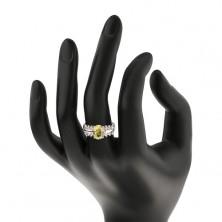 Ligotavý prsteň z ocele, číre zirkónové línie, oválny svetlozelený zirkón