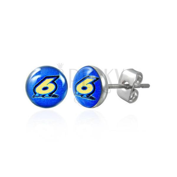 Okrúhle oceľové náušnice - číslica šesť na modrom podklade, číra glazúra, puzetky
