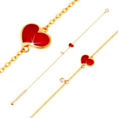 Náramok v žltom 14K zlate - červené asymetrické srdce a číry zirkónik, tenká retiazka