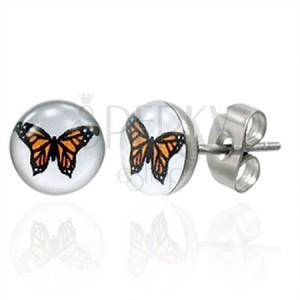 Oceľové náušnice oranžový motýľ