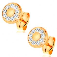 Náušnice zo žltého 14K zlata - žiarivý kruh z čírych zirkónov, zlatý stred, puzetky