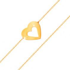Náramok v žltom 14K zlate - jemná retiazka, ploché srdce s výrezom v strede