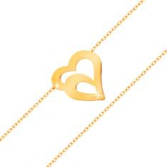Zlatý náramok 585 - jemná retiazka z oválnych očiek, dvojitá kontúra srdca