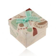 Krabička na prsteň, prívesok alebo náušnice, béžová s farebnými vzormi, tyrkysová mašľa