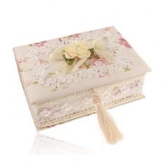 Hranatá béžová šperkovnica s kyticou kvetov a mašľou, kvetinová potlač