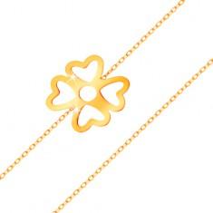 Náramok zo žltého zlata 585 - štvorlístok pre šťastie s výrezmi, lesklá retiazka