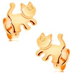 Šperky eshop - Náušnice zo žltého 14K zlata - lesklá mačička, puzetové zapínanie GG162.11