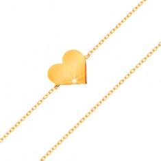 Náramok v žltom 14K zlate - ligotavá tenká retiazka, prívesok - ploché srdiečko