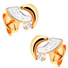 4e3fd4aad Šperky eshop - Puzetové náušnice zo 14K zlata - dvojfarebné oblúčiky a  okrúhly číry zirkón GG166.05