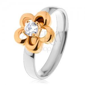 Oceľový prsteň v dvojfarebnom prevedení, obrys kvetu s vyvýšeným čírym zirkónom