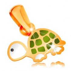 Zlatý 14K prívesok, malá zeleno-biela korytnačka s čiernym očkom, lesklá glazúra