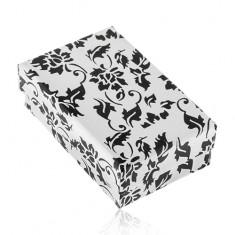 Biela darčeková krabička na prsteň a náušnice, čierny motív kvetov a listov