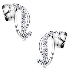 1c383e412 Šperky eshop - Zlaté 14K náušnice - dve hladké a jedna zirkónová línia, biele  zlato