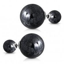 Obojstranné náušnice z ocele 316L, väčšia a menšia gulička, metalická čierna farba