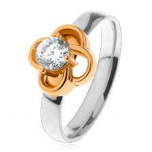 Oceľový prsteň v striebornom odtieni, kvietok zlatej farby s čírym zirkónom