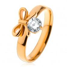 Prsteň z chirurgickej ocele v zlatej farbe, lesklá mašlička s čírym zirkónom