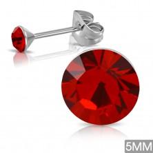 Náušnice z ocele 316L - červený okrúhly zirkón, puzetové zapínanie