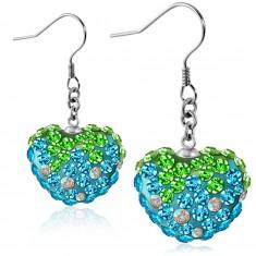 Náušnice z ocele 316L - trblietavé modro-zelené zirkónové srdce, afroháčiky