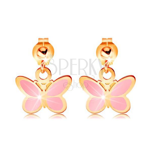 5d6f48c30e09 Zlaté náušnice 585 - lesklá gulička a visiaci ružový motýlik ...
