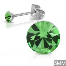 Puzetové náušnice z chirurgickej ocele, okrúhly zirkón v zelenom odtieni