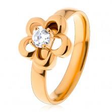 Oceľový prsteň v zlatom odtieni, kvietok, vyvýšený okrúhly zirkón čírej farby