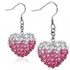 Ružovo-biele oceľové náušnice, ligotavé srdce s čírymi a ružovými zirkónmi, háčiky