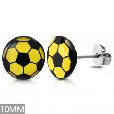 Okrúhle náušnice z chirurgickej ocele, žlto-čierna futbalová lopta, puzetky