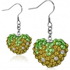 Náušnice z ocele 316L - trblietavé zeleno-zlaté zirkónové srdce, afroháčiky