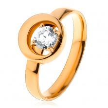 Prsteň z ocele 316L v zlatom odtieni, okrúhly číry zirkón v kruhu s výrezom