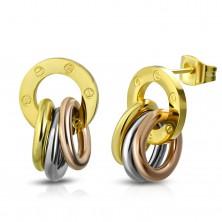 Náušnice z ocele 316L, lesklá obruč a prstence zlatej, striebornej a medenej farby