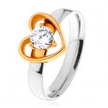 Oceľový prsteň - dvojfarebné prevedenie, tenká kontúra srdca, okrúhly číry zirkón