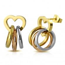 Oceľové náušnice, trojfarebné prstence na lesklej kontúre srdiečka, puzetky