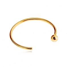 Piercing do nosa v žltom zlate 585 - lesklý krúžok ukončený guličkou