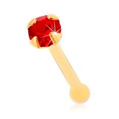 Piercing do nosa zo žltého 14K zlata, rovný - okrúhly zirkónik červenej farby, 1,5 mm