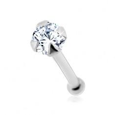Šperky eshop - Piercing do nosa v bielom 14K zlate - okrúhly číry zirkónik, 1,5 mm GG175.01
