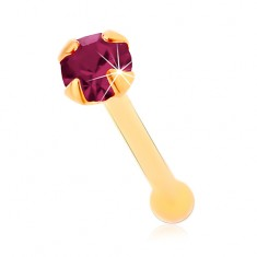 Piercing do nosa v žltom 14K zlate, rovný - okrúhly zirkónik fialovej farby, 1,5 mm