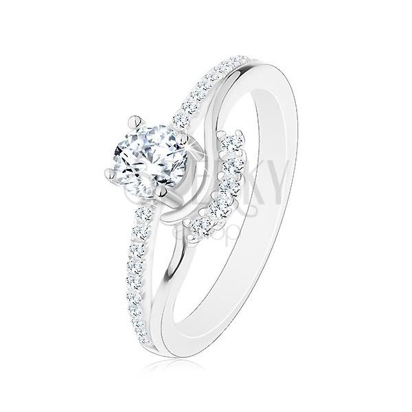 38461b7d3 Strieborný 925 prsteň - zásnubný, rozdelené ramená, zirkón, vlnky a  trblietavá línia ...