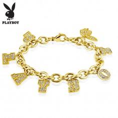 Šperky eshop - Náramok z chirurgickej ocele zlatej farby, prívesky - nápis PLAYBOY a zajačik AC19.22