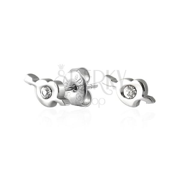 Oceľové náušnice srdiečko a amorov šíp so zirkónom
